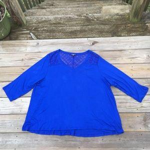 Cable & Gauge cobalt blue blouse with lace